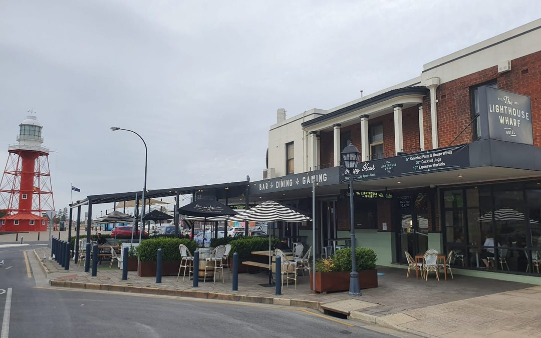 Lighthouse Wharf Hotel outdoor dining